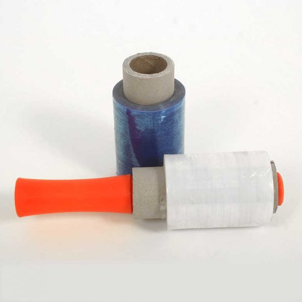מיני שרינק לפלף ידני בצבע תכלת שקוף להידוק וליפוף מוצרים והצמדתם.